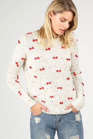 Embellished Bowtie Pullover Sweater