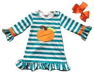 Teal & White Striped Pumpkin Dress