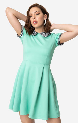 Mint & Black Gingham Babe Revolution Fit & Flare Dress