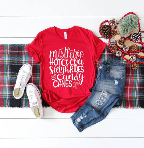 Mistletoe, Hot Cocoa Red Long Sleeve Tee