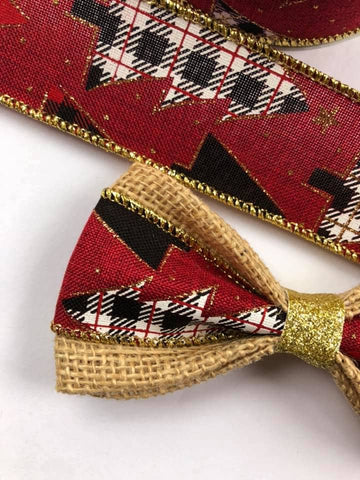 DOG BOW TIES - Plaid Trees Gold Shimmer