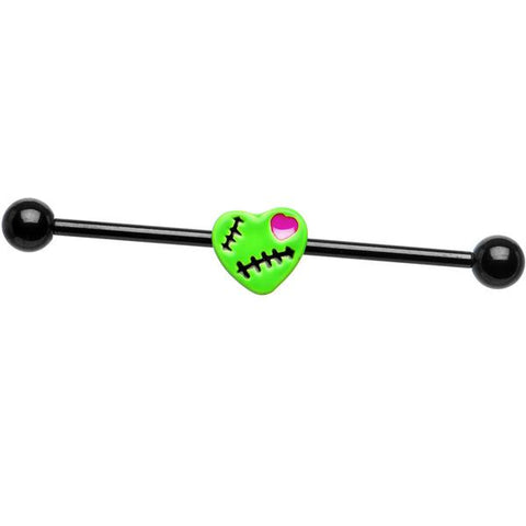 Black Titanium Green Mended Zombie Heart Industrial Barbell