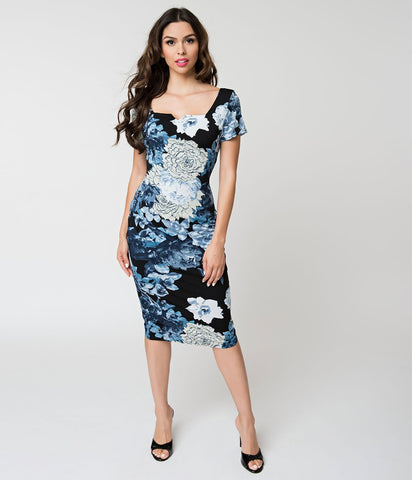 Black & Blue Floral Harris Knit Dress
