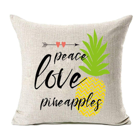 Peace, Love, Pineapples Pillow Cover