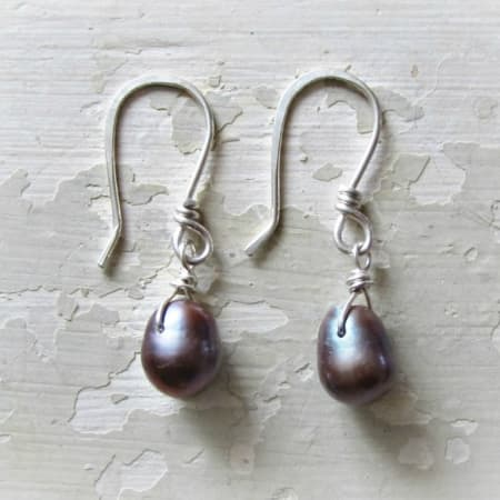 Peacock Pearl Sterling Dangle Earrings