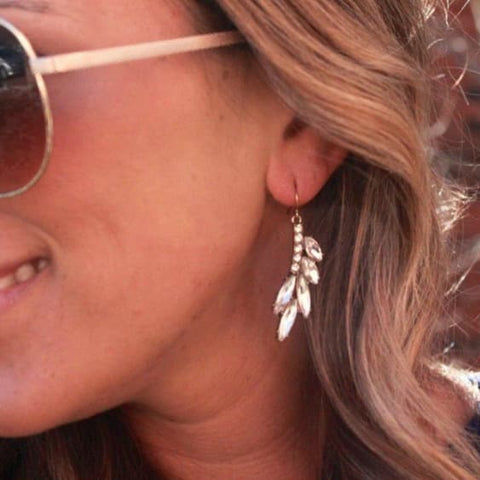 Crystal leaf dangle earrings