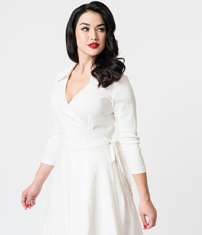 Unique Vintage 1950s Style Anna Wrap Dress