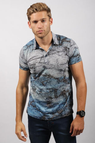 Blue Gray Marbled Polo Shirt