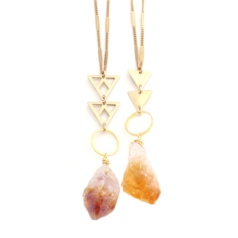 Macy Necklace Raw Citrine Stone