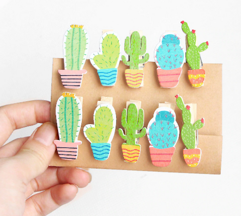 Cute Cactus Wooden Photo Clips (10 pc. set)