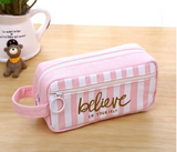 "Cute pink canvas pencil case ""Believe In Yourself"""