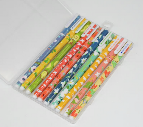 Colorful Fruits & Flowers Ball Point Pens (10 piece set in a case)
