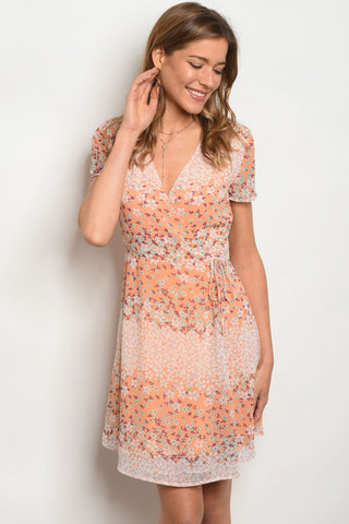 Pale Orange Floral Dress