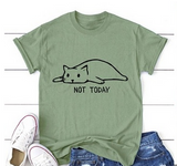 "Cute Cat ""Not Today"" T-Shirt in Sage Green"