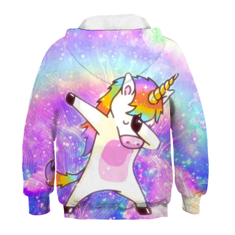 Dabbing Unicorn Colorful Galaxy Kids Hoodie