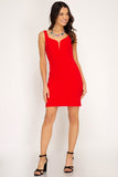 Bright Red Sleeveless Dress with Sweetheart Neckline