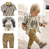 Boy's Buddy Bear 3-piece plaid outfit