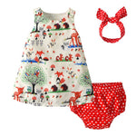 Cartoon Forest Animals Dress with Bloomers