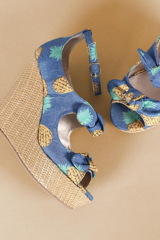 Pineapple Print Bow Ankle Strap Wedge