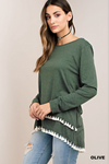 Double Fringe Top in Olive
