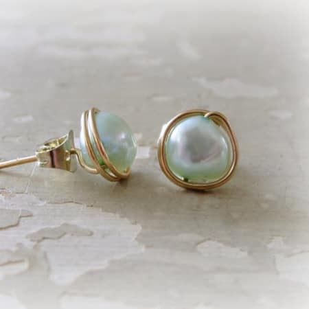 Light Blue Pearl + Gold Filled Stud Earrings