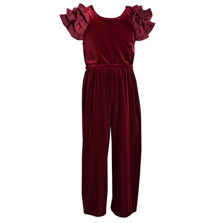 Flutter Sleeved Velvet Romper in Burgundy