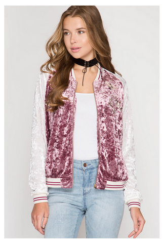 Sport Crushed Velvet Bomber Jacket