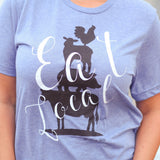 Eat Local T-Shirt in Heather Blue
