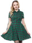 Plaid Button Down Dress Green