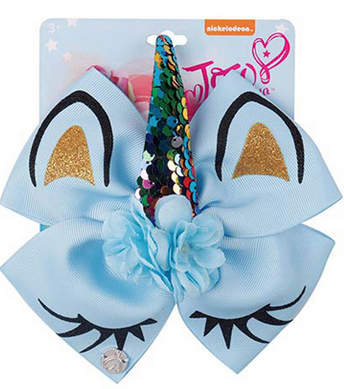 JoJo Hair Bow Light Blue Unicorn