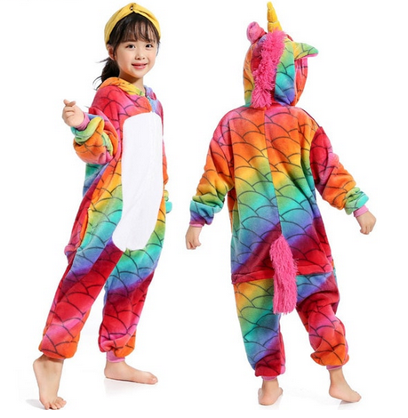 Colorful Rainbow Unicorn Footie Pajammies