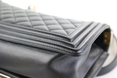 Black Lambskin Old Medium Boy