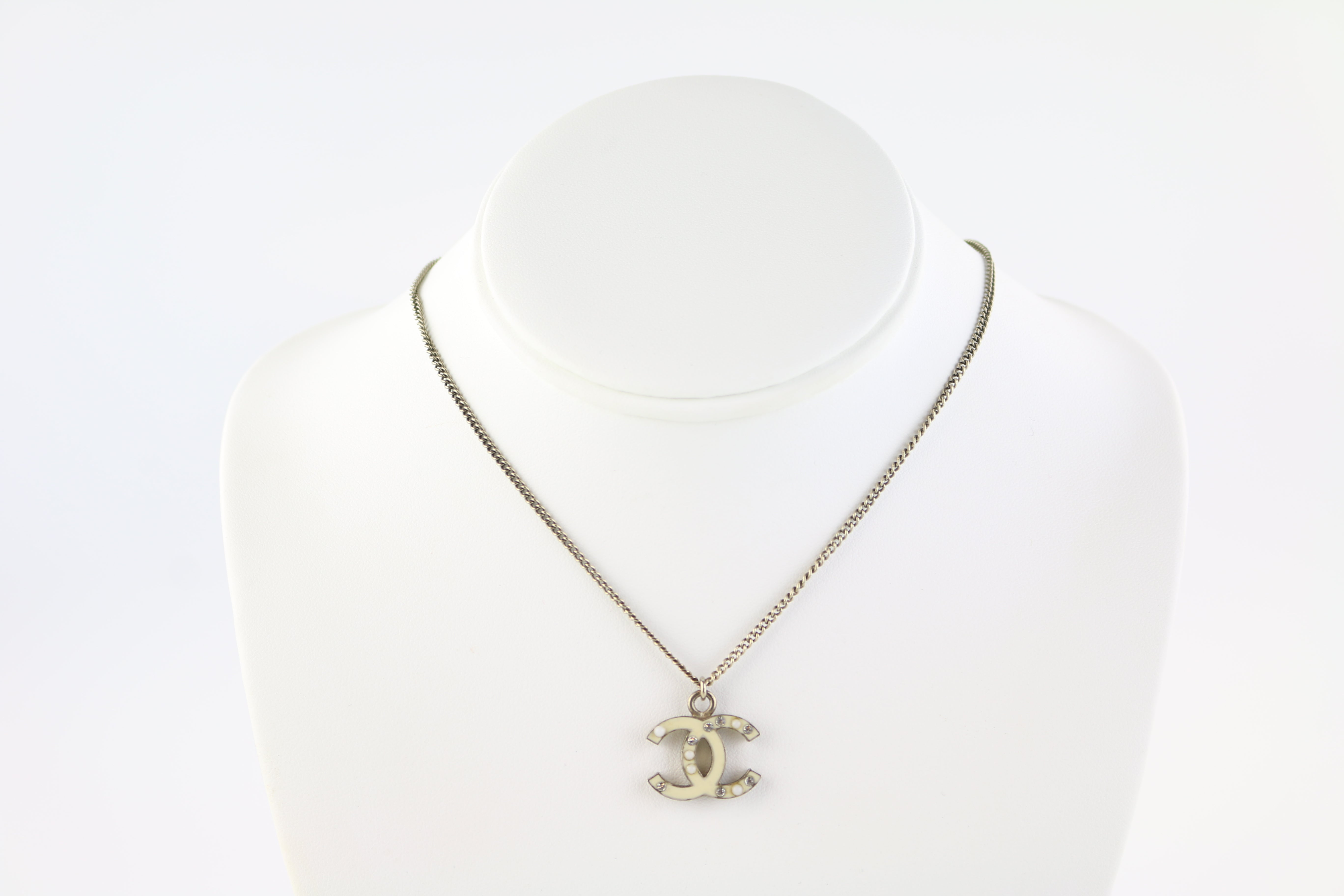 White CC Enamel/Crystal Necklace