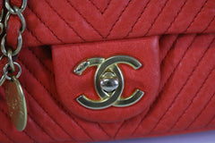 Red Calfskin Surpique Chevron Small Flap