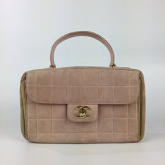 Vintage Pink Suede Top Handle Flap