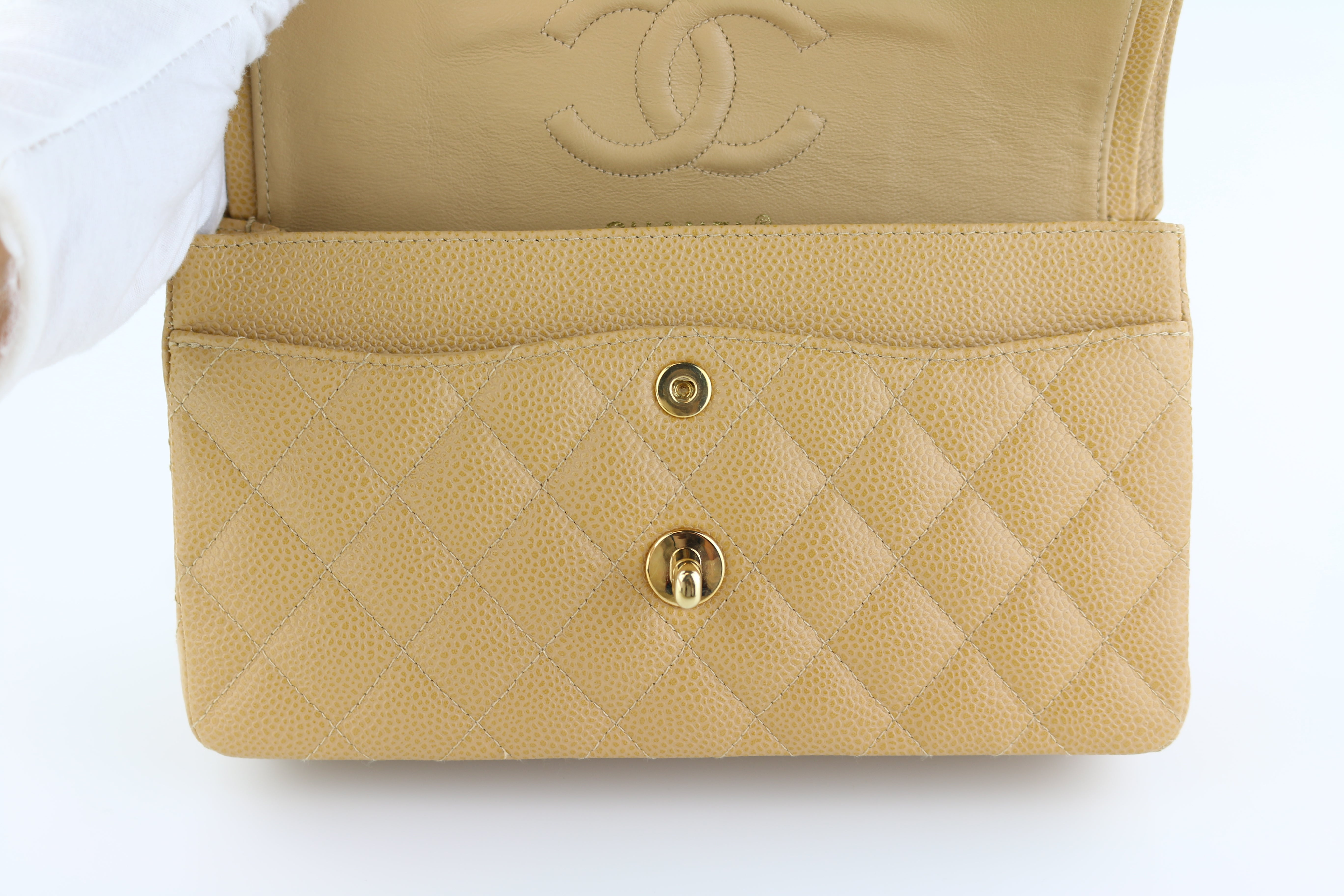 Beige Caviar Small Flap
