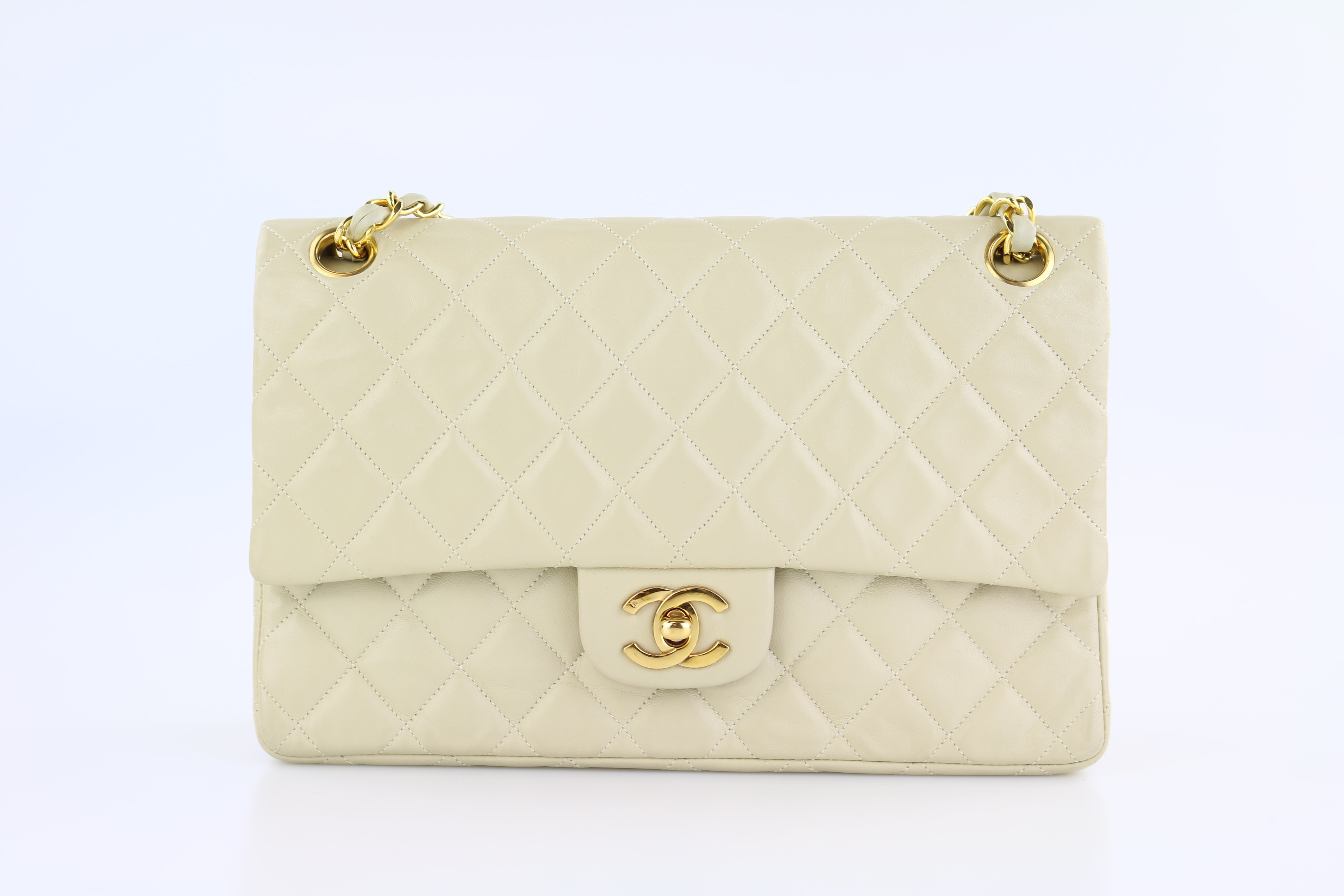 Beige Lambskin Medium Flap