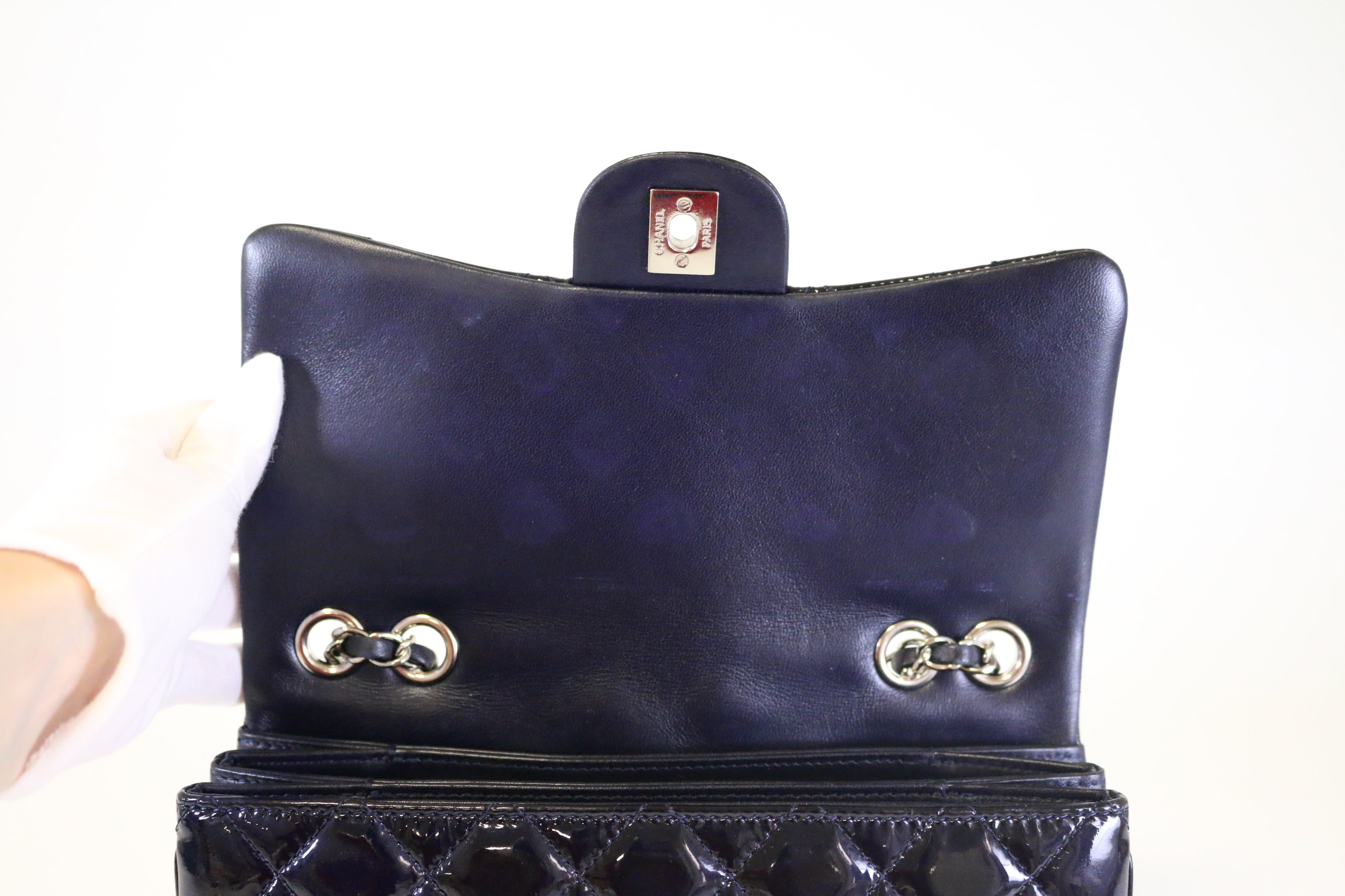 Navy Patent Tri-Layer Flap