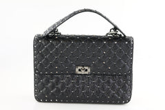 Black Rockstud Spike Flap Bag