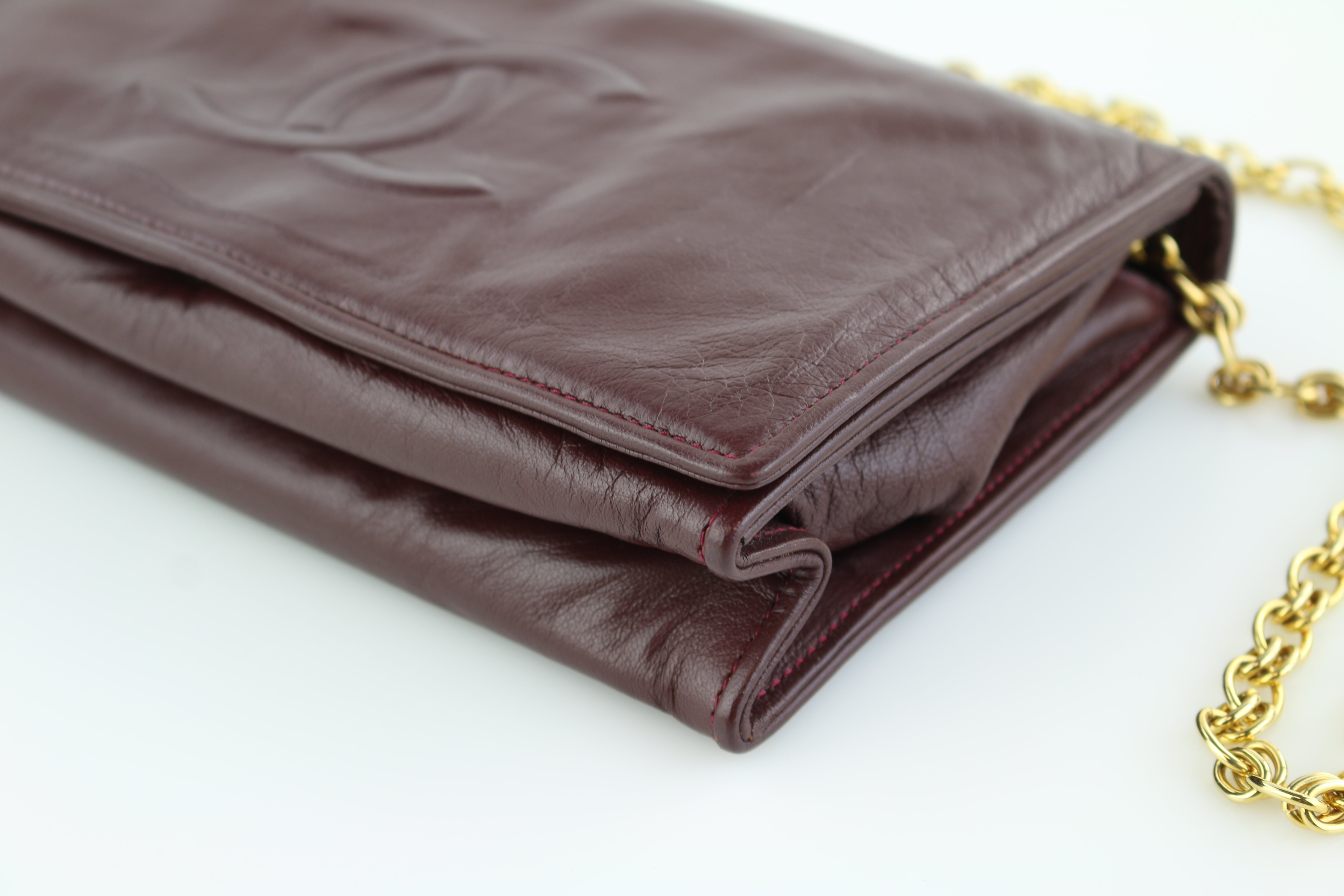 Burgundy Lambskin Clutch on a Chain