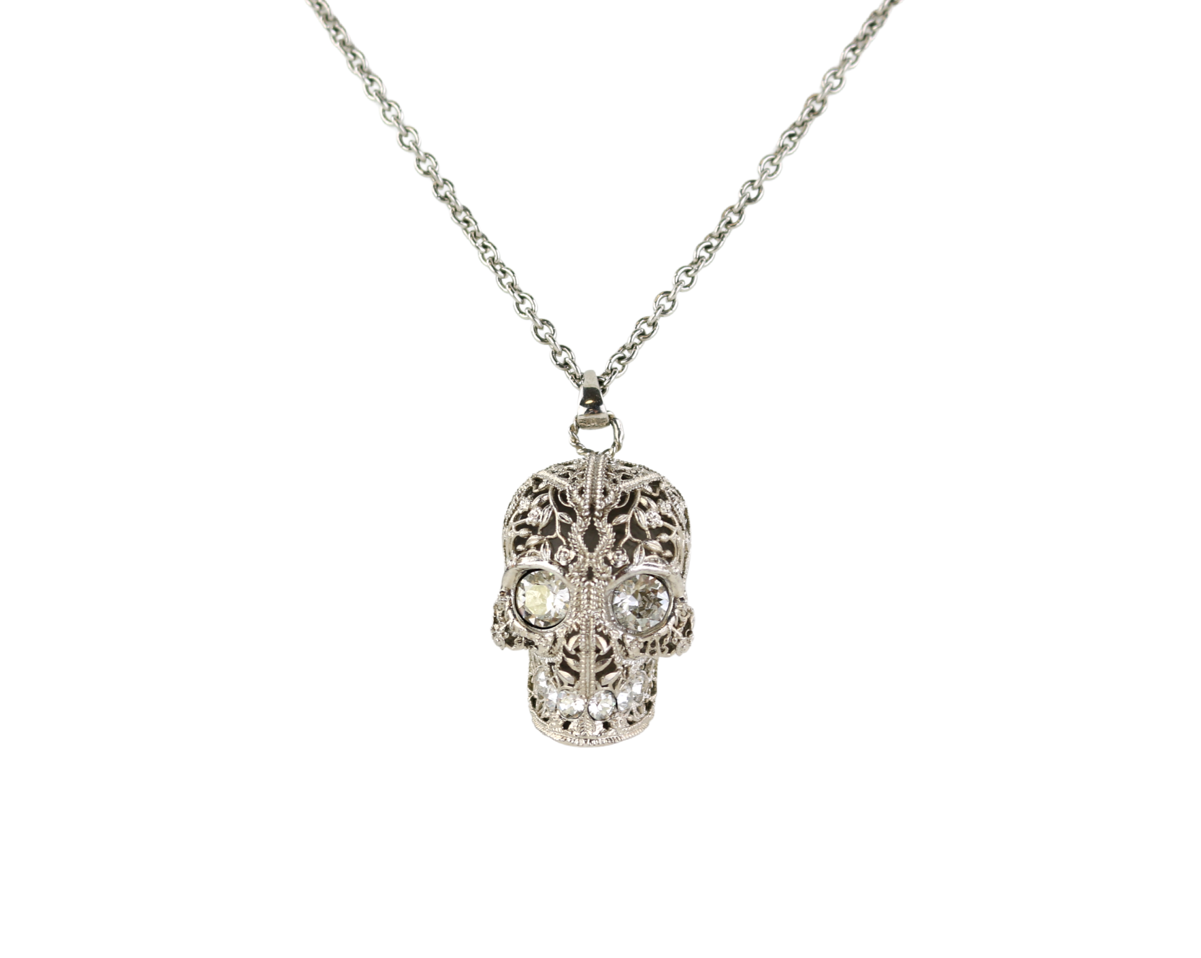 Silver/Crystal Skull Necklace