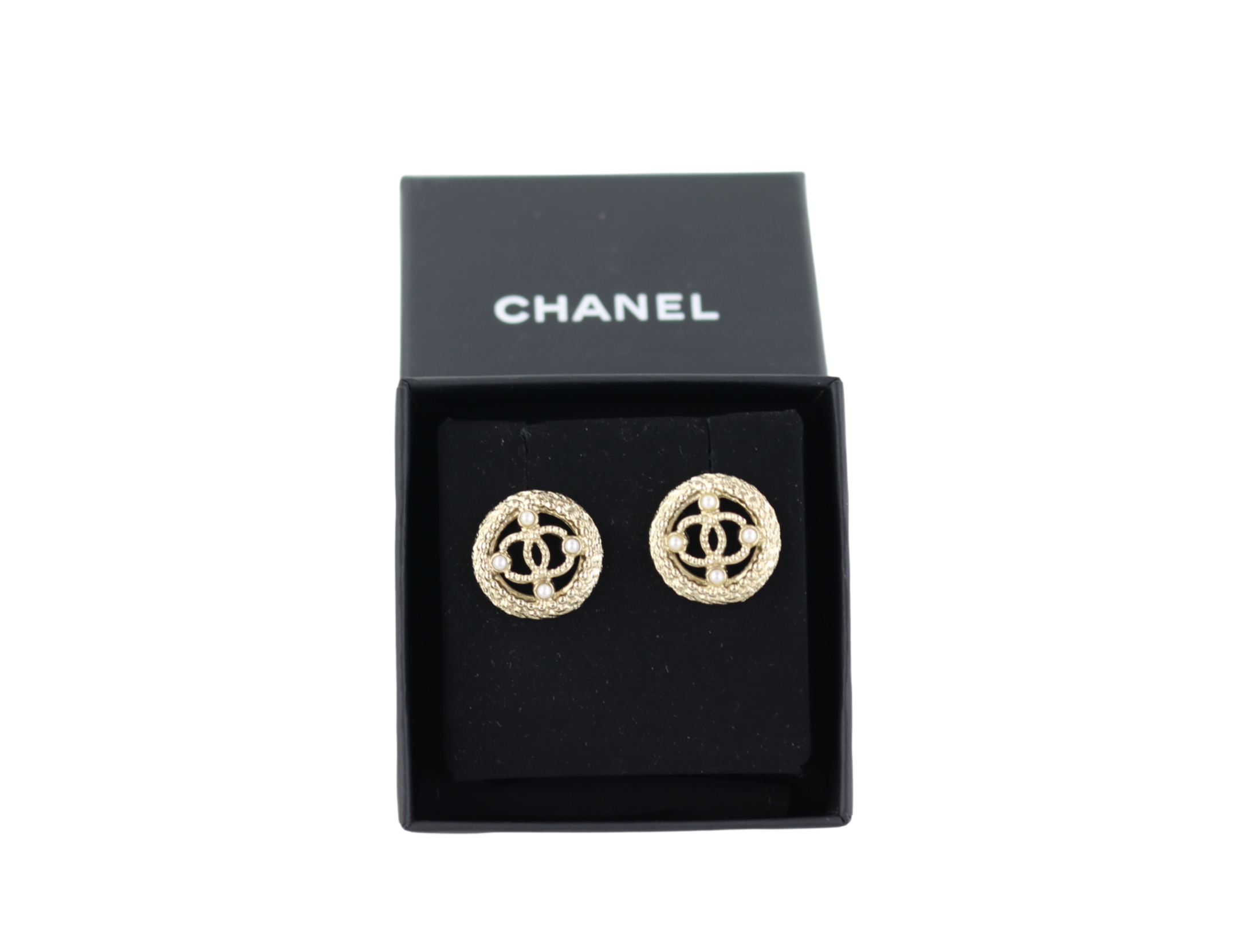 Gold CC Circle Earrings