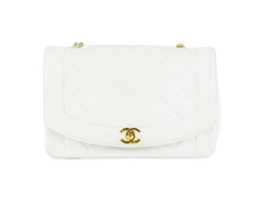White Lambskin Vintage Medium Diana Flap