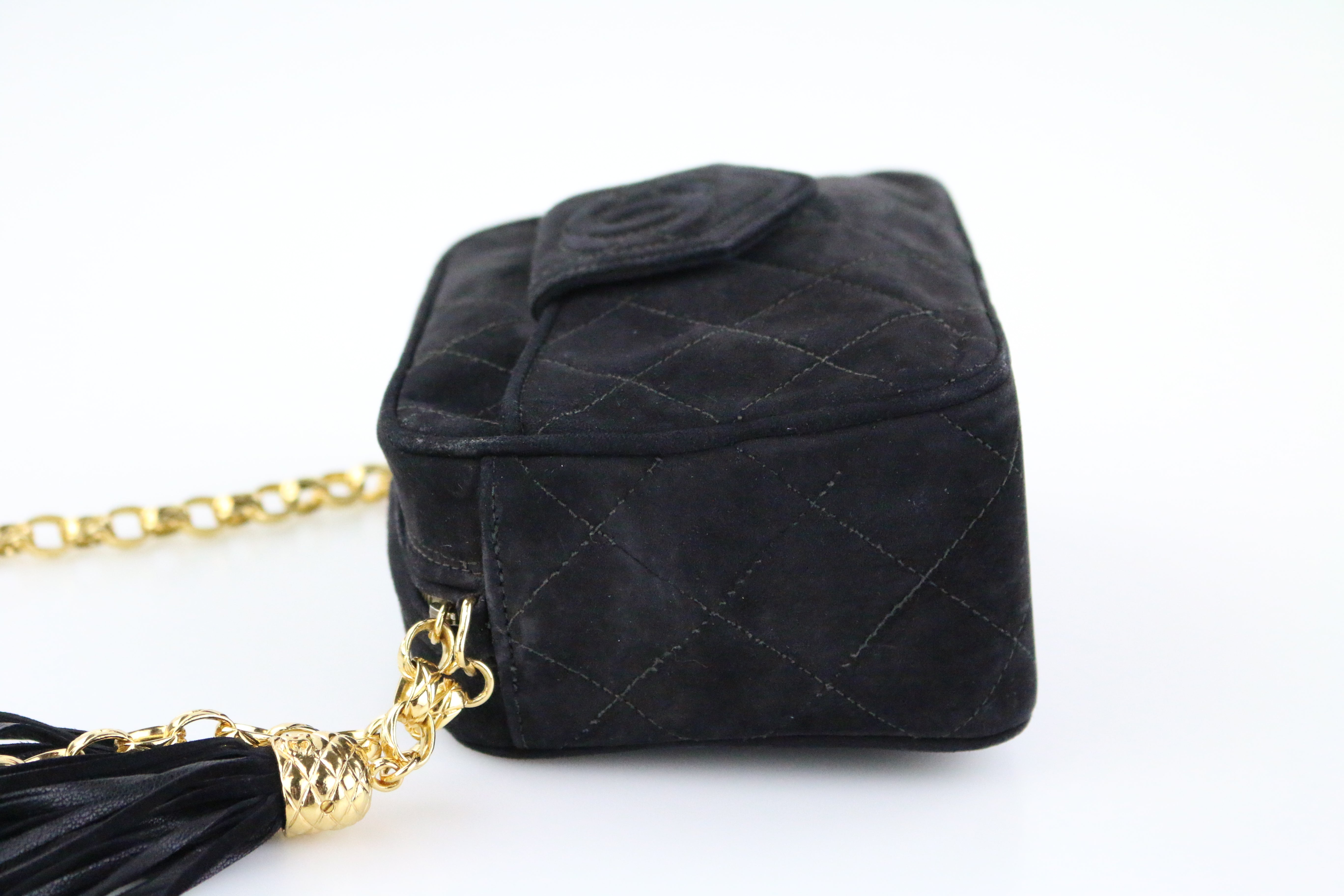 Vintage Black Suede Camera Bag