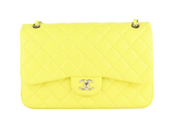 Yellow Lambskin Double Flap Jumbo