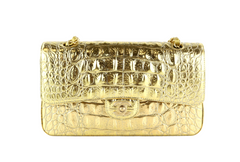 Gold Croc Embossed Medium Flap