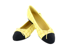 Yellow/Black Tweed Ballerina Flats