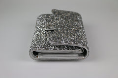 Silver Crystal Strassed Medium Snap Wallet