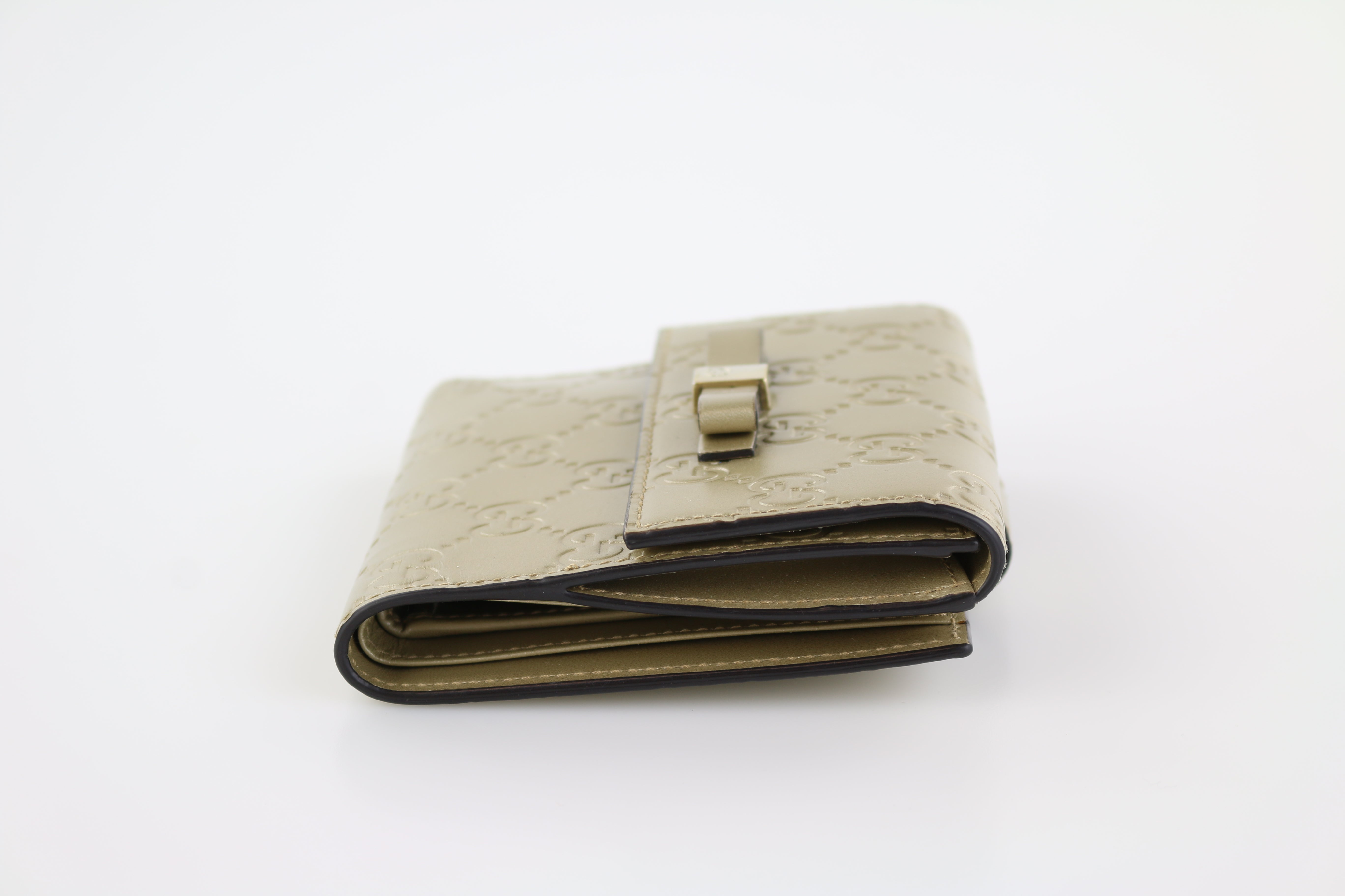 Gold Guccissima Bow Wallet