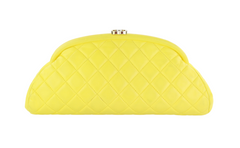 Yellow Lambskin Kisslock Clutch